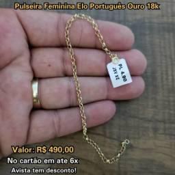 Pulseira Feminina Elo Português em Ouro 18k