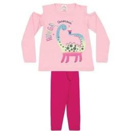 Tamanho 8 - Conjunto Blusa em Cotton Rosinha e Legging em Cotton Pink