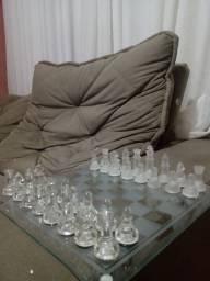 Jogo de xadrez com peças de Vidro