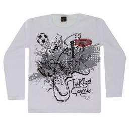 Tamanho 10 - Camiseta Manga Longa em Meia Malha Branca