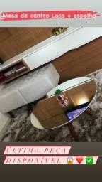 Mesa de centro em Laca off white com espelho - (unidade) ÚLTIMA PEÇA