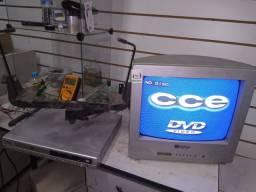 Tv 14 CRT com suporte aéreo e DVD