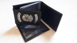 Carteira de couro para Detetive Profissional (brasão)