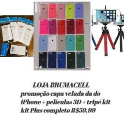 Loja brumacel promoção capa do iPhone original + película 3D + tripé kit completo