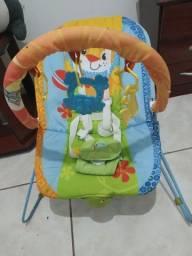 Cadeira de balanço,toca música e vibra.