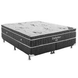 Base Cinza Bipartida com Colchão Ortobom Exclusive Nanolastic King Size 60x198x186