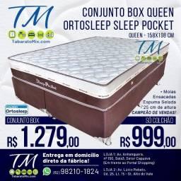 Conjunto Queen Sleep Pocket 25CM Molas Ensacadas! Frete Grátis! 12x Sem Juros