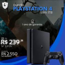 Playstation 4 Slim 1TB c/ 3 jogos - Novo com Garantia