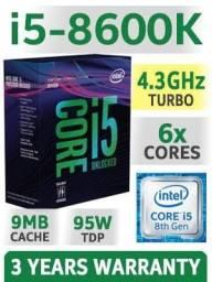 Intel i5-8600k, 3.6GHz (4.3GHz Max Turbo)