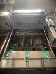 Fritador a gás industrial 3 cesto (127v ou 220v) somente óleo [Alef]