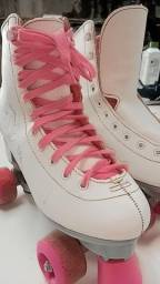 Patins feminino 38 rosa e branco