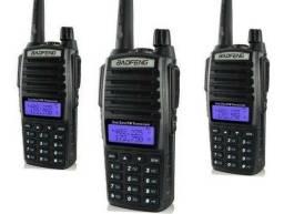 Kit 3 Rádio Ht Comunicador Baofeng Dual Band Uv82 Rádio Fm 5W