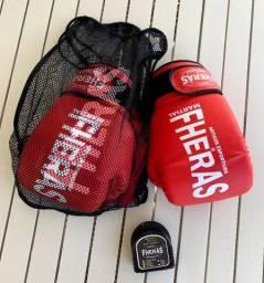 Kit Luvas De Boxe + Bandagem + Protetor Bucal | Fheras