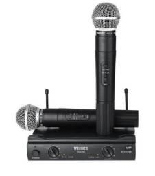 Microfone weisre sem fio duplo profissional uhf