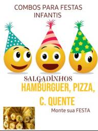 Minis Hambúrguer artesanal e salgados maravilhosos