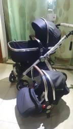 Carrinho de bebê 3 em 1 com Moisés e bebê conforto novo