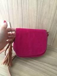 Bolsa pequena lateral rosa de veludo