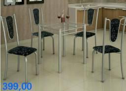 Mesa com 4 cadeiras com tampo de vidro entrega hoje