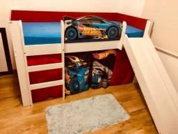 Cama Infantil Hot Wheels Play Com Cortina Mattel - Pura Magia
