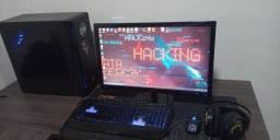 Pc gamer com mesa de escritório e cadeira super confortavel