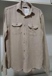 Camisa Wollner linho Caqui P