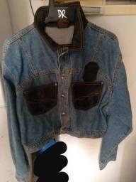 Jaqueta jenas com couro legítimo