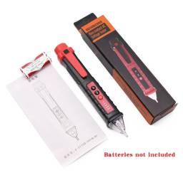 Teste detector tensão/voltagem tipo caneta ajuste sensibilidade,lanterna,alarme