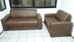 Jogo sofá couro