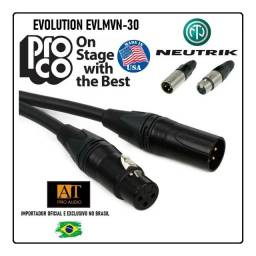 Pro Co Evolution Evlmcn30 Cabo Microfone Xlr Quad 9m balanceado Neutrik made in Usa