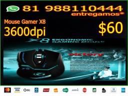 Mouse Gamer 3600dpi Profissional Led Laser Imice 6 Botões X8