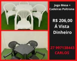 Mesa e Cadeira Plastica Poltrona