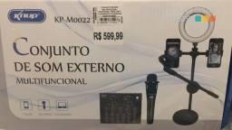 Conjunto de Som Externo Multifuncional Microfone Ring Light Suporte (KP-M0022)