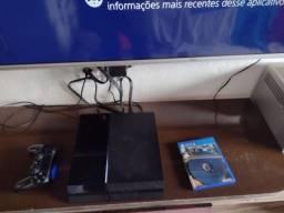 PS4 com 1 controle + o jogo Metal gear leia a descrição