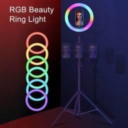 Ring Light Led rgb Iluminador 10 Poleg + Tripé Profissional