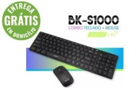 Kit Teclado + Mouse Sem Fio Combo Bk-s1100 2.4ghz Exbom - entrega grátis