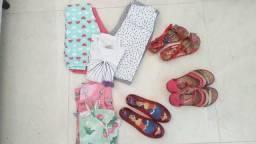 Kit de 10 peças de roupas e calçados infantil feminino,