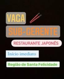 Vaga Sub Gerente Restaurante