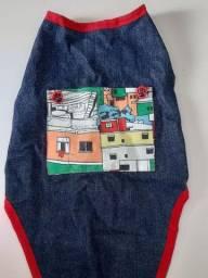 Roupinha pet jeans com bolsinho