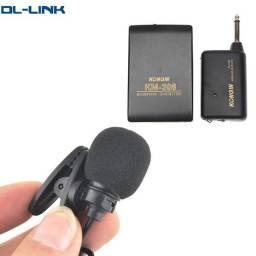 Mini Microfone Sem Fio Preto Kongin KM-208 Portátil