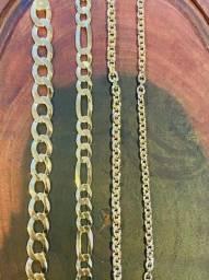 Correntes, Pulseiras, Pingentes em Prata com banho de Ouro 18k
