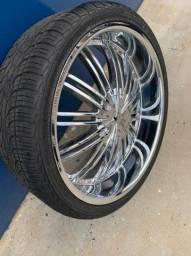 Jogo de roda e pneu aro 26, hummer, hiluz, f250 6 furos barbada