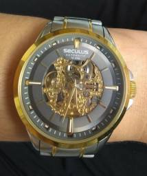 Relógio De Pulso Seculus Masculino Automático Seminovo (baixei pra vender logo)