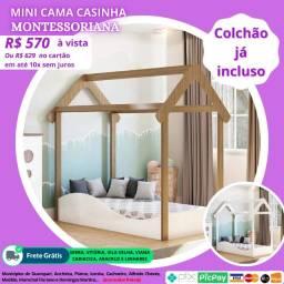 Mini Cama Casinha Montessoriana + Colchão