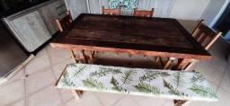 Mesa Rustica madeira maciça demolição (1,80 x 1,00) + 4 cadeiras + 1 banco