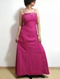 Vestido de festa M rosa com trançado