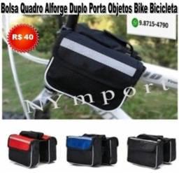 Título do anúncio: Alforge Bolsa Duplo Para Quadro de Bike Bicicleta Porta Objetos Poliéster Cor Preto