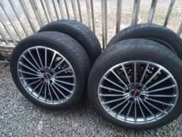 jogo de rodas 17 4x100 pneus 225x45x17 vw renault fiat gm