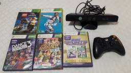 XBOX 360  + 5 Jogos  + Kinect + Controle