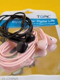 Fones de Ouvido TOPK Com Controle De Volume e Microfone