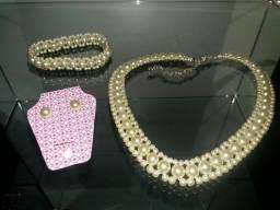 Conj Pérolas (colar/pulseira/brincos)